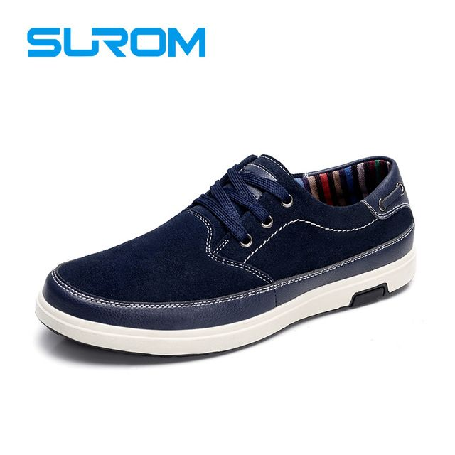 Special price SUROM 2017 Men's Leisure shoes Suede Leather Material Handcrafted Lace up Chamois Leather Flats Casual Shoes For Men Boat shoes just only $25.64 with free shipping worldwide  #menshoes Plese click on picture to see our special price for you