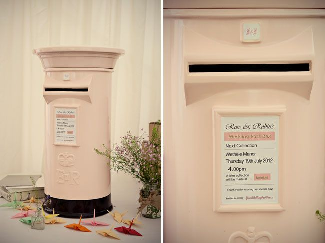 How freakin' cute/genius is this for your card/money box?!?  Seriously, no one can walk away with this lol (now if someone can tell me where they found this vintage london post box that would be awesome!)