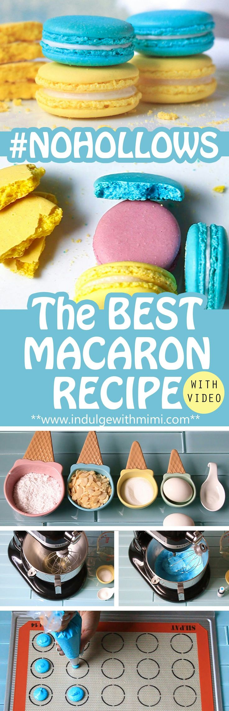 The Best Macaron Recipe with detailed instructions and video tutorial showing you key visual markers at each stage.