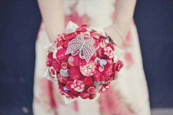 Red Bridal Button Bouquet  The Lotus Flower Bouquet by Beaubuttons, £220.00