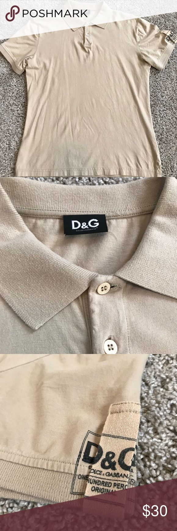 Dolce and Gabbana dress casual polo shirt Polo is just too small for me. Has 2 tiny holes under the buttons from a tag I believe - as shown in pic.  Selling a big discount due to minor imperfections.   If you like: Gucci, polo, Ralph Lauren, RRL, Louis Vuitton, Prada, d&g Dolce & Gabbana Shirts Polos