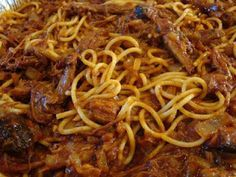 BBQ Spaghetti! A combo of pulled pork, bbq & tomato sauce and spaghetti - YUM!  Just like we had in Memphis at the famous Jim Neely's Interstate BBQ!
