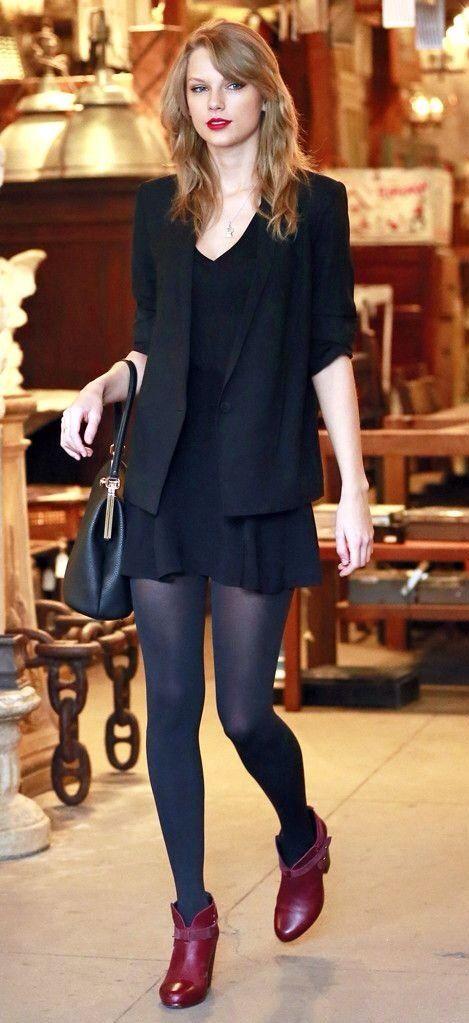 Taylor Swift hair   Keywords: mid-length, medium length, long, bangs, side-swept bangs, rag & bone harrow, ankle boots, dress, skirt