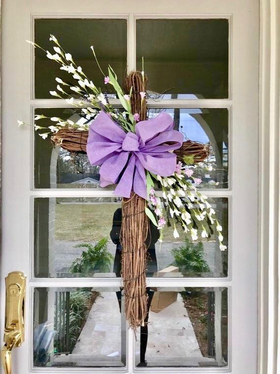 Free Shipping Front Door Wreath Easter Wreath Easter Etsy Lavender Paper Flowers Easter Wreaths Easter Wreath Cross