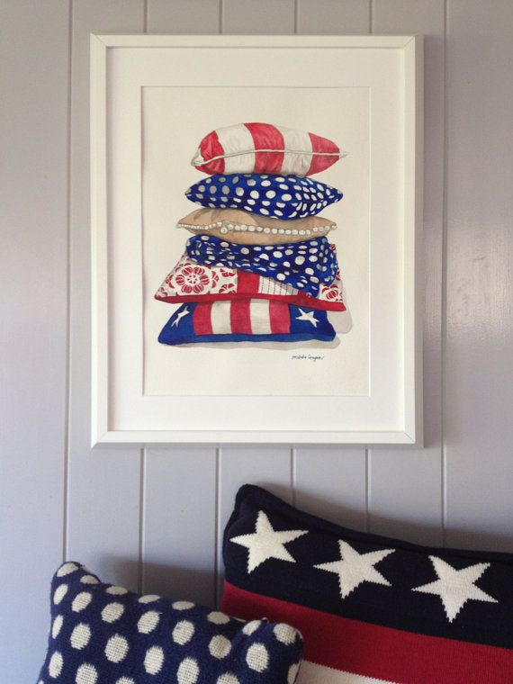 Red, white and blue watercolour limited edition print of cushions stacked. An Art Print of my original watercolour illustration. Subject matter is a painting of a stack of red, white and blue cushions and throw rug. Limited edition of 50 runs. Printed on 100% 216gsm etching fine art paper. Prints are printed on A4 to fit the window of an 8 inch x 10 inch matting board. All prints are signed. All prints are packed with great care inside a cello sleeve and shipped in a protective envelope…