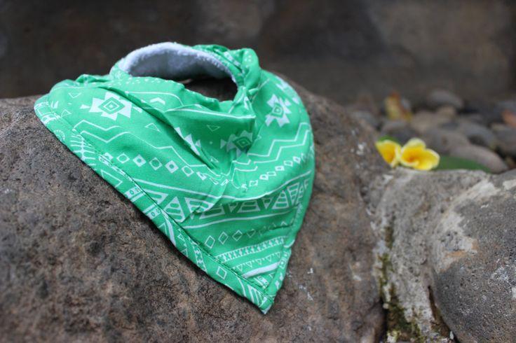 Green Geometric Baby bandana bib, extra coverage, dribble baby! by SacredHeyokah on Etsy