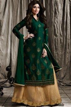http://www.gebastore.com/salwar-kameez/collections/karma-mother-daughter-special/shilpa-shetty-green-latest-fashion-designer-party-wear-indo-western-style-suit-karma-1578-mother.html  #suits #salwar #sarees #sari #lehenga #choli #gown #dresses #ethnicwear #casualwear #traditional #partywear #heavyembroidered #Mauritius #Jordan #Australia #indianlady #GebaStore #Festive #DressfromIndia #modelsuit #bridalwear #chaniacholi #occasionallywear