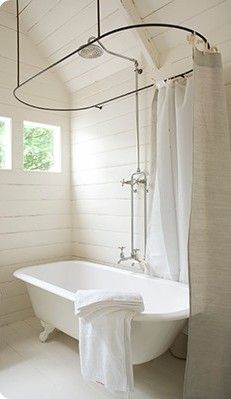 Claw foot tub shower  horizontal wood paneled walls  small window in  bathroomTop 25  best Clawfoot tub shower ideas on Pinterest   Clawfoot tub  . Add Shower To Clawfoot Tub. Home Design Ideas