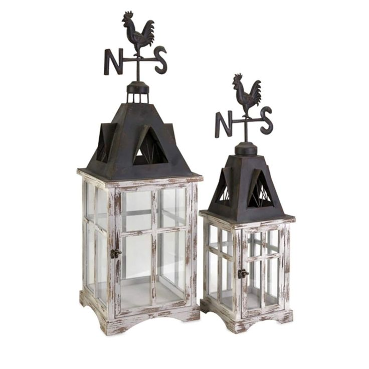 Set of 2 Distressed Country Rustic Weather Vane Cupola Pillar Candle Lanterns, White
