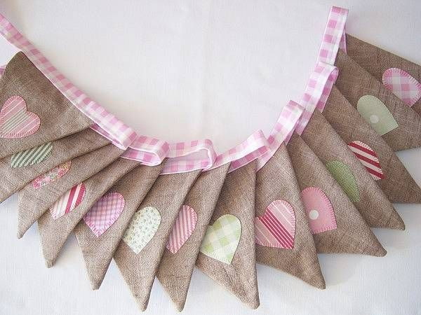 Gingham and hearts bunting - in red not pink
