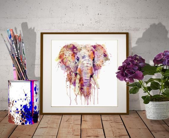 Downloadable Watercolor Painting Of An Elephant Head Wildlife