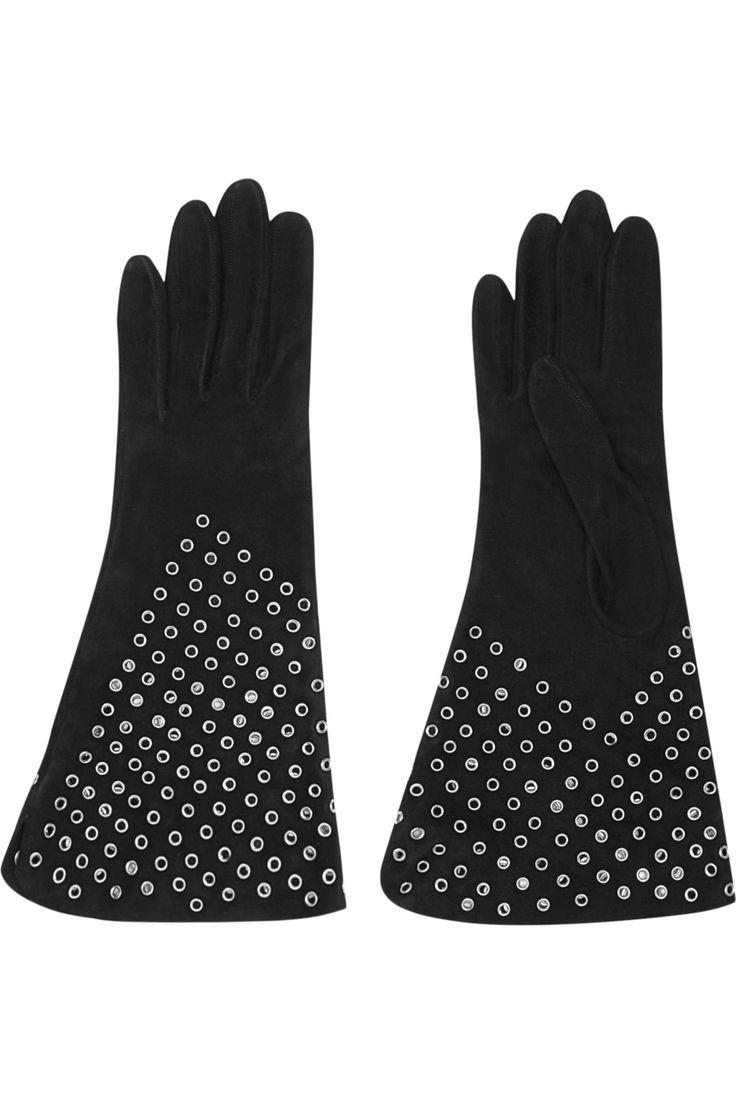 Black gloves with leopard trim - Black Suede Suede Lamb Specialist Clean