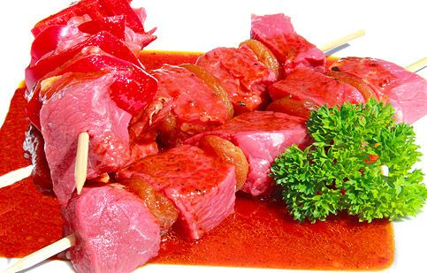 A traditional South African dish of meat (usually lamb or mutton) cooked on skewers. It is of Cape Malay origin. Diced lamb on a wooden skewer with dried apricots marinated in a mouth watering homemade marinade sauce.
