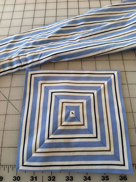 Recycled shirt quilt square, striped shirt by Mamaka Mills Quilts, via Flickr