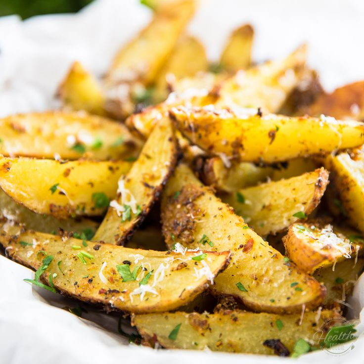 Oven Baked Garlic Parmesan Potato Wedges • The Healthy Foodie