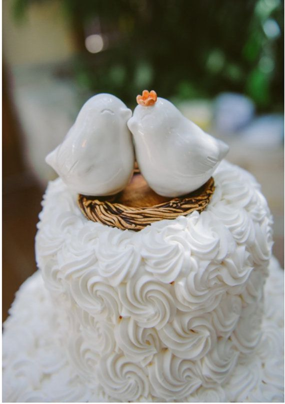 White Cuddling Love Bird Cake Topper