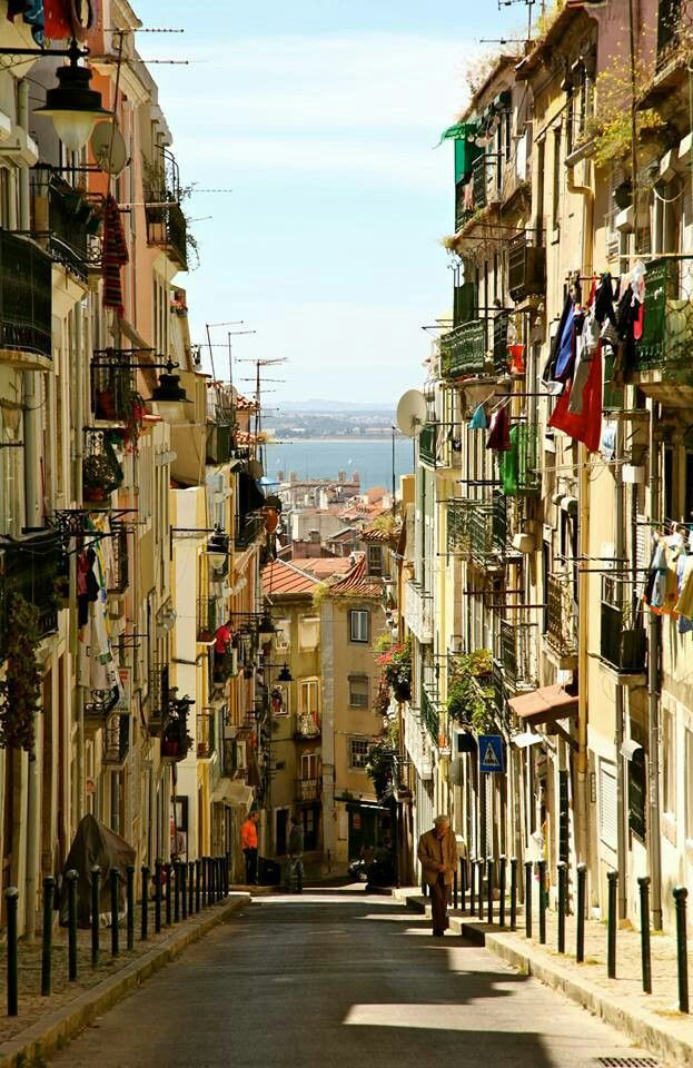 Think Lisbon and other stops in Portugal a must:) Beautiful street - Lisbon, Portugal