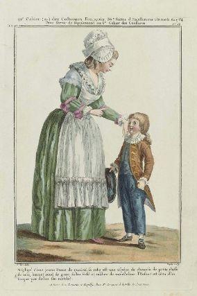 """""""Négligé d'une jeune Dame de qualité, sa robe est une espèce de chemise de petite étoffe de soie, bonnet rond de gaze, fichu frisé et tablier de Mousseline. l'Enfant est vêtu d'un fraque par dessus son matelot"""", Gallerie des Modes, 1784; MFA 44.1573 -- A coat ! On a skeleton suit ! Amazing !"""
