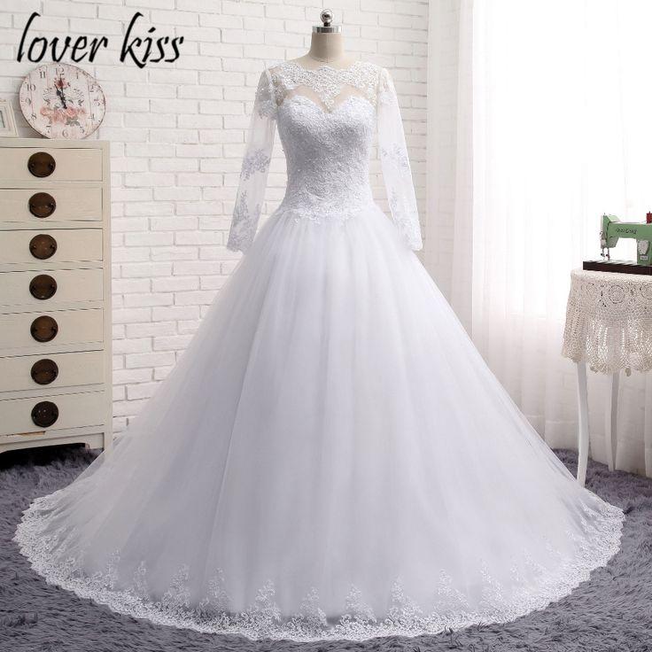 Minnaar Kus 2016 Lange Mouwen Jurk vestidos de noiva Baljurk Bruidsjurk Luxe Trouwjurk voor Bruiden(China (Mainland))