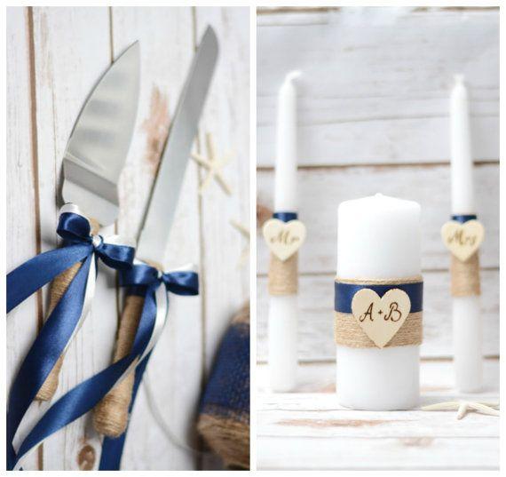 Navy Blue wedding Cake Knife Serving Set Unity by HappyWeddingArt