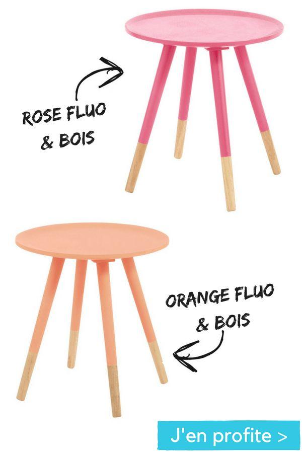 Je change ma table basse !   table basse vintage en bois rose / orange fluo Maisons du Monde  http://www.homelisty.com/soldes-maisonsdumonde-hiver-2017/