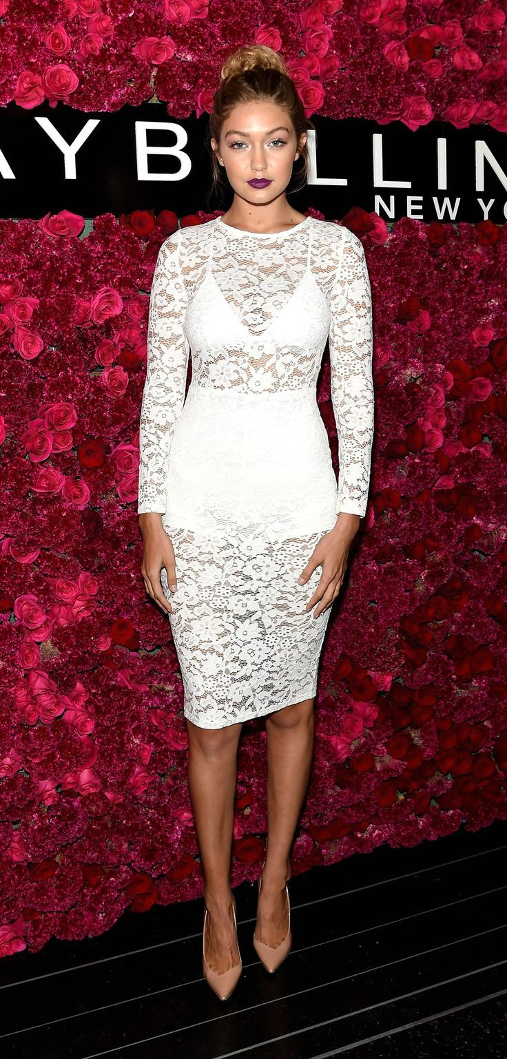 Celebrity Style at NYFW Spring 2016 – Gigi Hadid in a sheer white lace dress, nu…