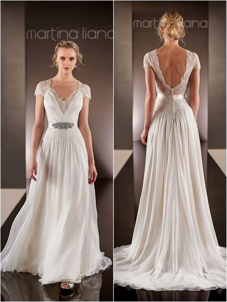 Vintage Wedding Dresses 2015 V Neckline Beaded Sequins A Line Lace Bridal Dress Short Sleeves Backless Chiffon Wedding Gowns Custom Made, $141.37 | DHgate.com