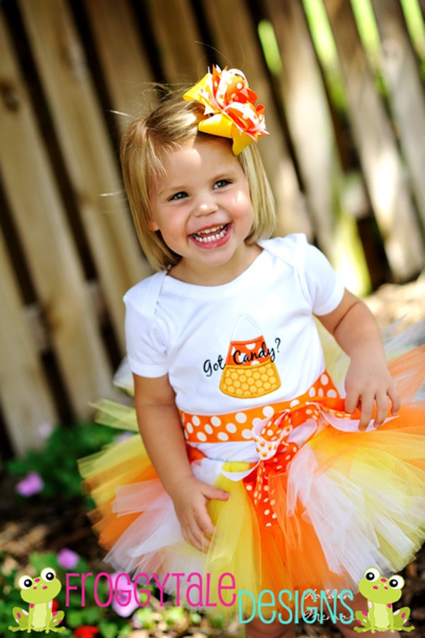 halloween candy corn got candy bodysuit or shirt diaper cover bloomer and tutu skirt costume for - Diaper Costume Halloween