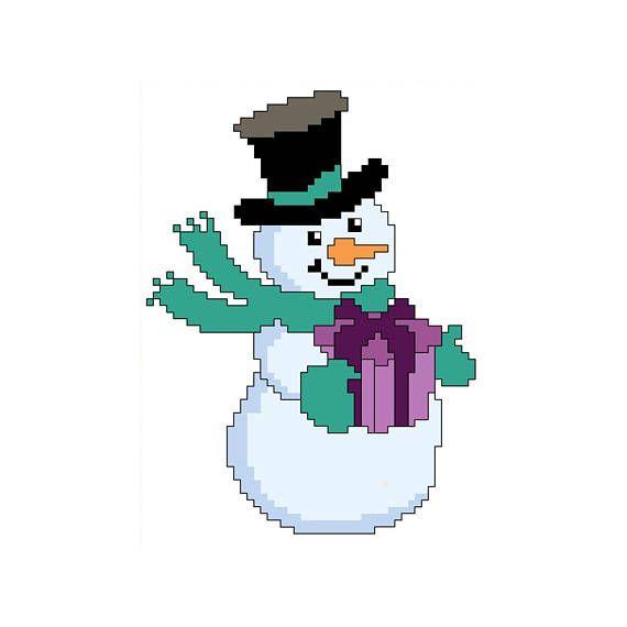 PDF schema punto croce pupazzo di neve  cross stitch pattern