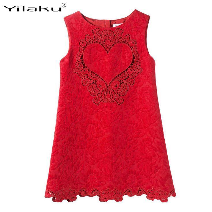 $12.05 (Buy here: https://alitems.com/g/1e8d114494ebda23ff8b16525dc3e8/?i=5&ulp=https%3A%2F%2Fwww.aliexpress.com%2Fitem%2FGirls-Dresses-Summer-2016-Brand-Sleevelss-Girl-Lace-Loving-Heart-Pattern-Wedding-Dress-Princess-Children%2F32613213283.html ) 2017 Summer Dresses Girls High-grade Lace Wedding Dress Sleeveless Loving Heart Embroidered Party Dresses Kids Clothes CA309 for just $12.05