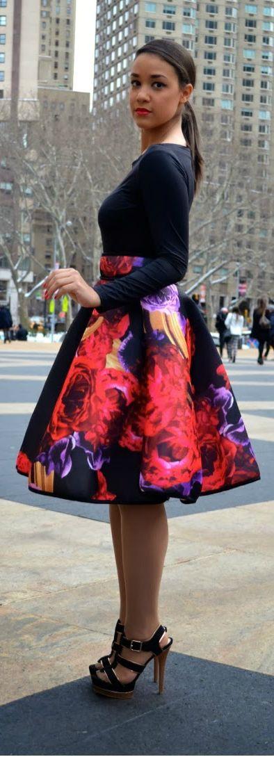 Floral #skirt #midiskirt #fullskirt