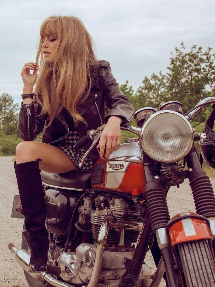 """designerleather: """"  Katharina Damm for Elle Sweden - ACNE Studios leather jacket """""""