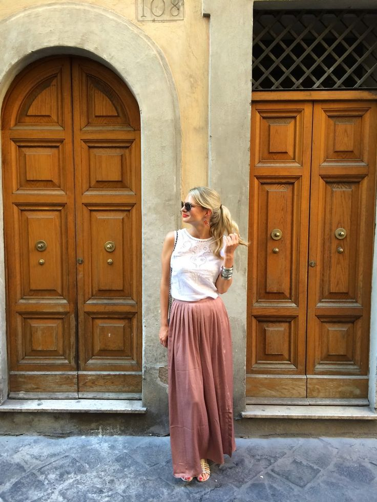 Rome street style.  Boden sells maxi skirts just like this, in talls, too!