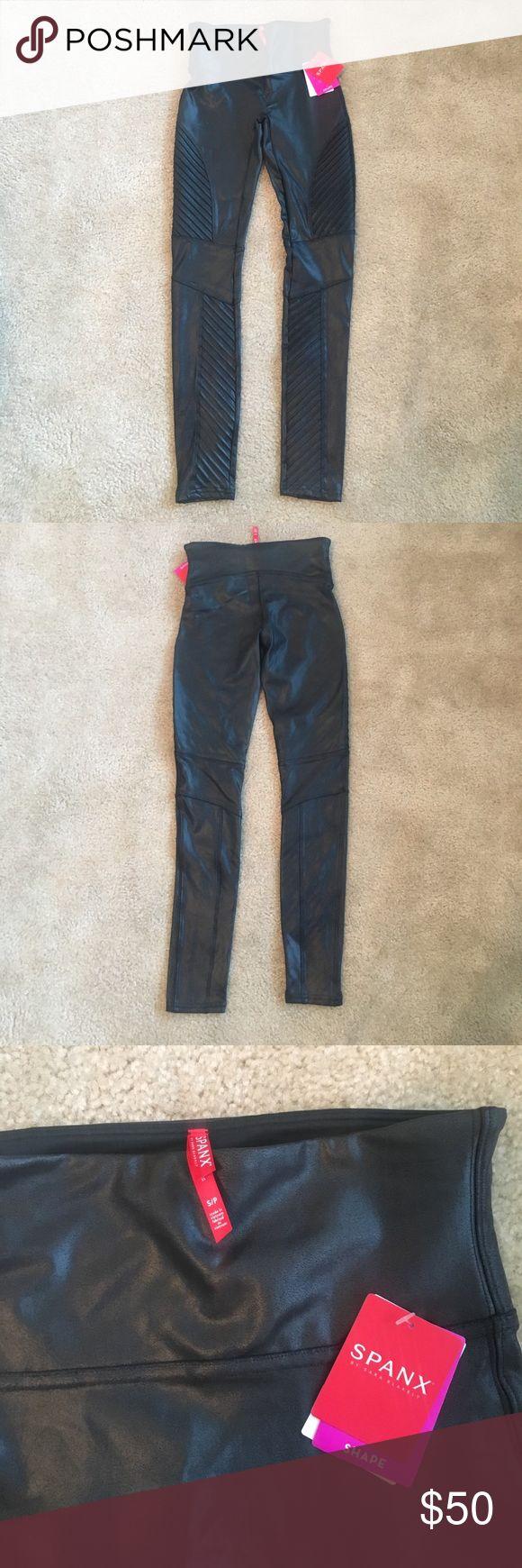 Spanx Black Faux Leather Moto Leggings Brand new with tags. Spanx Black Faux leather moto leggings. Size small SPANX Pants Leggings