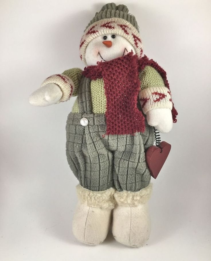 """Rustic Adorable Christmas Snowman Green Nordic Sweater Toque Sheepskin Boots 14"""""""