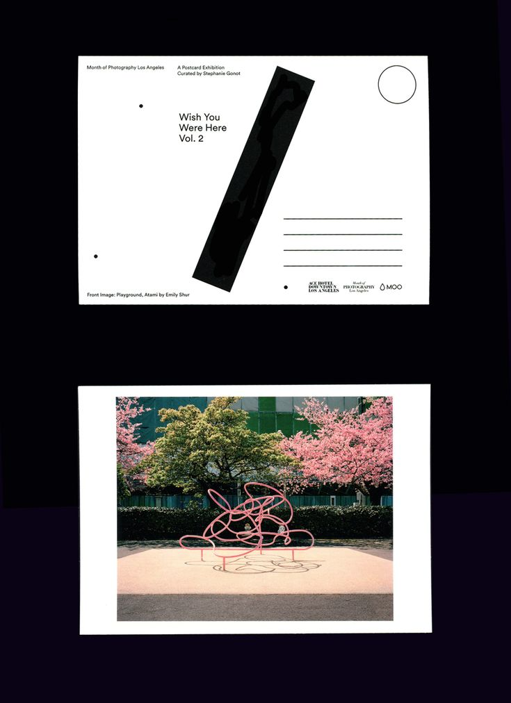 """timcolmant:  I did the back design of the postcards of""""Wish You Were Here Vol. 2″.A postcard exhibition curated by Stephanie Gonot in LA some months ago.(Front Image: Playground, Atami by Emily Shur)Thanks Stephanie!Ania"""