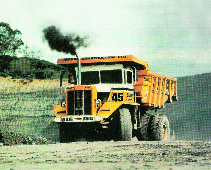 A slightly larger 30 ton capacity PayHauler 100 at work in a coal mine stripping operation. This is another of Baker Constructions machines. Bakers eventually ended up with almost the entire imported population of PayHaulers