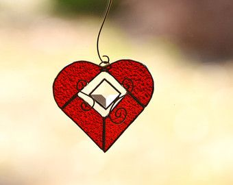 Red Textured Stained Glass Heart with Bevel and Spiral Wire Accents