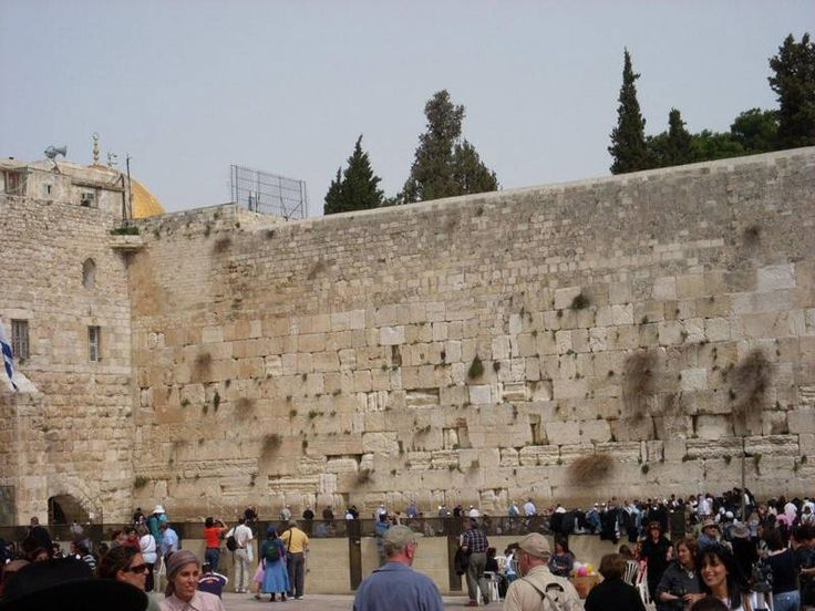 The Western Wall of the Temple in Jerusalem, called the Wailing Wall, a holy site where Jews pray.  I actually touched this wall and noted the many people praying and the many prayer notes put into the cracks of the wall.