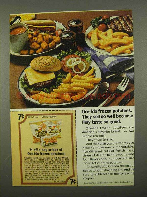 vintage frozen food | 1975 Ore-Ida Frozen Potatoes Ad - Taste so Good