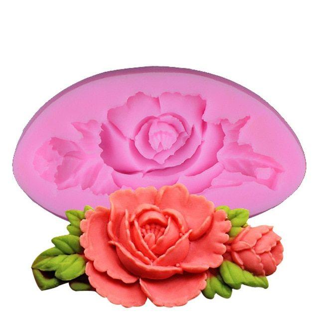 DIY Bakeware Sugarcraft Cake Mould Rose Flower Silicone Mold 3D Leaf Fondant