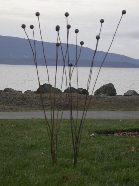 Kinetic Garden Art Sculpture Ball Weeds by redgrassdesigns on Etsy