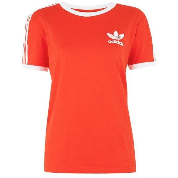 California T-Shirt by Adidas Originals (£22) ❤ liked on Polyvore featuring tops, t-shirts, short sleeve tops, red t shirt, red short sleeve top, cotton t shirts and short sleeve tee