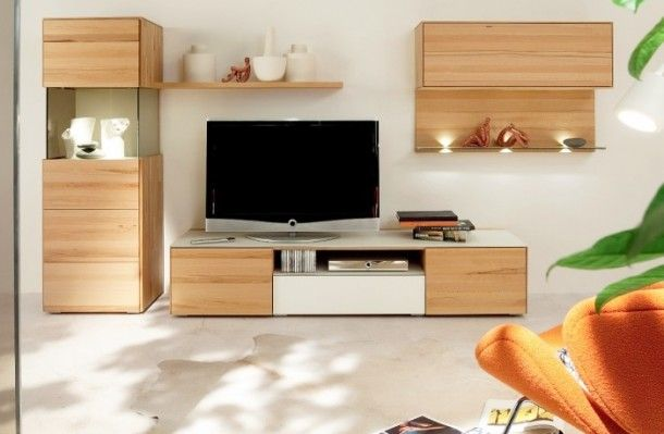 Decoration - Minimalist Multipiece Smooth Wooden Media Group With Glass And Wood Combination Rack: Wood Wall Panels Unit Combinations Design...