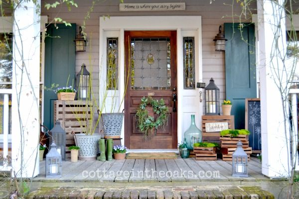 Spring front porch 2014 outdoor living planters and spring Cottage porch decorating ideas