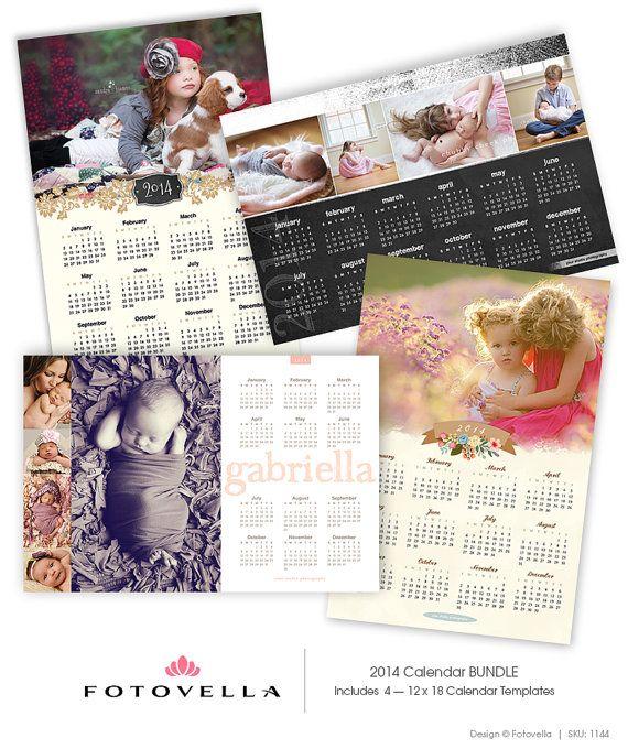 4 PAK  2014 Calendar Templates  FOUR 12x18 Photoshop Calendar Templates by FOTOVELLA