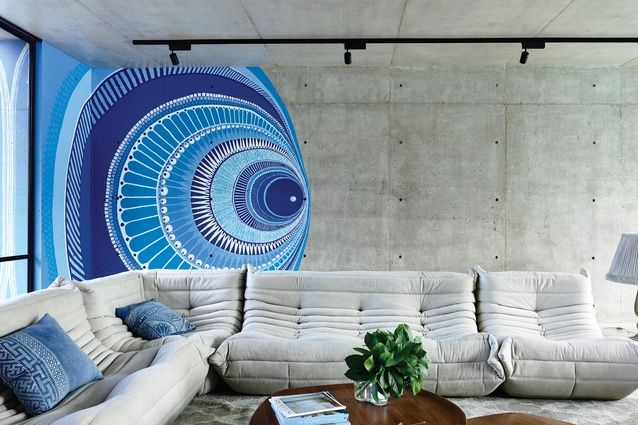 wOLSELEY hOUSE - mCkIMM The mural on the laneway elevation is repeated on the interior of the formal living room. Artwork: Lucas Grogan.