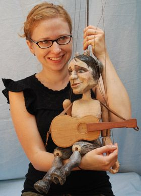 "Puppets from ""Puppets in Prague"" workshops....guitar"