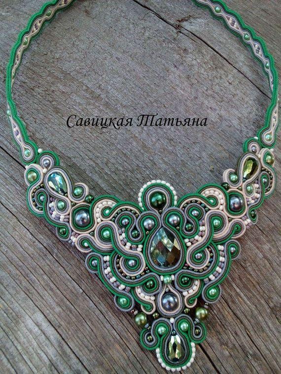 Unique Soutache Statement Oriental Necklace-Soutache Green Beige Necklace-Hand Embroidered Soutache Jewelry-Oriental Soutache Jewelry