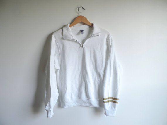 New Gold Stripe Sleeve 1 4 Zip Sweatshirt Size S 3xl You